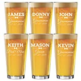 Set of 3, Set of 5, Set of 7 and more Groomsman Wedding Party 16 oz Pint Beer Glasses - Custom Engraved and Personalized for Free - Bow Tie Style (6)