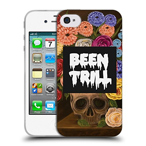 Official Been Trill Vase Floral And Skulls Soft Gel Case for Apple iPhone 4 / 4S
