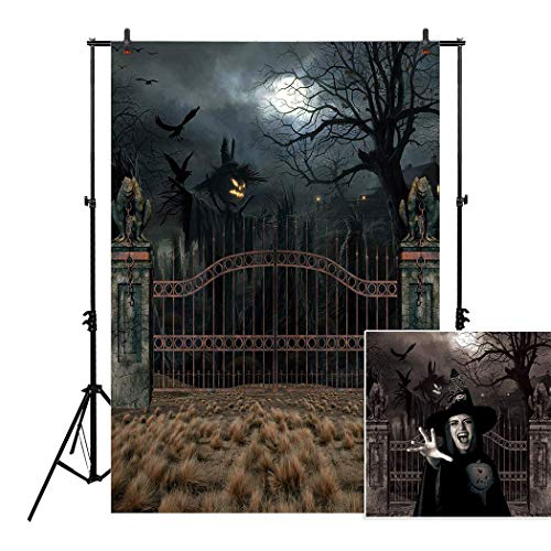 Allenjoy 5x7ft Vintage Scary Gate Scarecrow Night Backdrop for 2018 Halloween Baby Children Portrait Photography Celebration Home Party Decor Backdrops Pictures Background Supplies Photo Studio Booth
