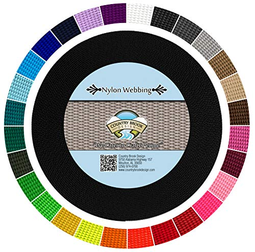 Country Brook Design - Durable 1 Inch Heavy Nylon Webbing - 29 Vibrant Colors (Black, 20 Yards) ()