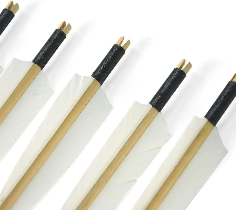 SHARROW 6 St/ück Handgemacht Holzpfeile 31 Bogenpfeile mit 5 Fletching Truthahnfeder Blechspitze f/ür Langb/ögen Recurve B/ögen Bogensport