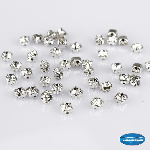 (LolliBeads (TM) 100 Pcs Crystal Ringed Sew on Rhinestone Czech Glass with Silver Plated Brass Base Prongs Cup, White 4)