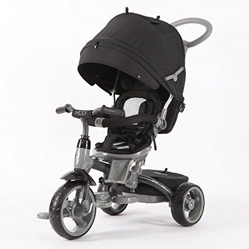 Qplay 6-in-1 Deluxe Baby Stroller Tricycle with One Button Rotating Seat Function for Interaction with Parents Push Bar Storage Bag Included (BLACK) (1 Seat Bag)