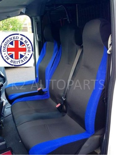 VAUXHALL MOVANO 2007 DELUXE WHITE PIPING VAN SEAT COVERS 2+1