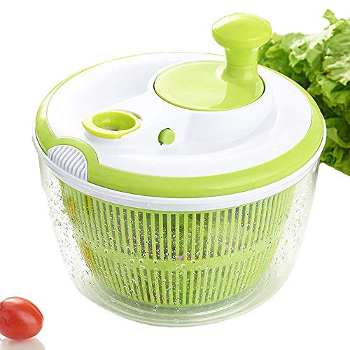 Large Salad Spinner BPA Free - Manual Lettuce Dryer and Vegetable Washer with Quick Dry Design, Easy Spin for Tastier Salads, 5qt, Green