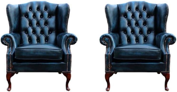 Divani In Pelle Blu.Designer Sofas4u Chesterfield Set Di 2 Divani In Vera Pelle