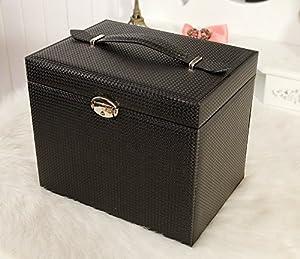 Ysiop Jewelry Box Large Capacity Handle Case Travel Lockable Holder Gift Box