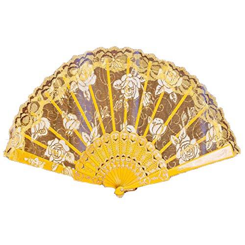 優れた品質 cinhentハンド折りたたみファン9色ダンスパーティーウェディングレース花ハンドヘルドファン Fan rib length: 23cm/9.05
