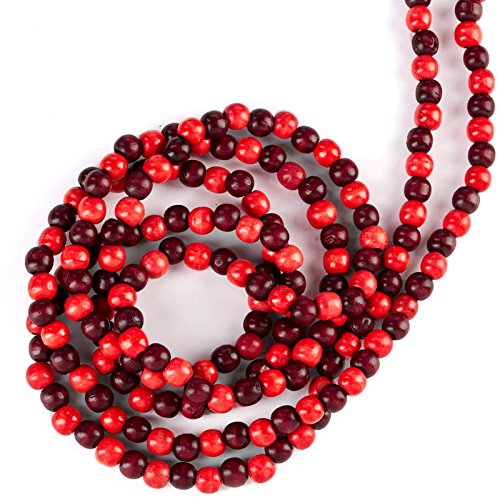 Festive Mixed Dark Cranberry Colored Wood Bead Garland - 10 Feet Long