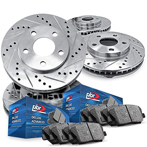 For 2005-2014 Ford Mustang PBR AXXIS Drill/Slot Brake Rotors+Ceramic Brake Pads
