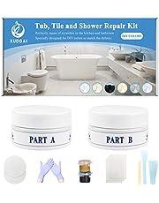Tub, Tile and Shower Repair Kit, 5oz Fiberglass Porcelain Acrylic Bathtub Repair Kit, Brown and Gray Series Tile Gap Filler for Cracked Stone, Ceramic Floor