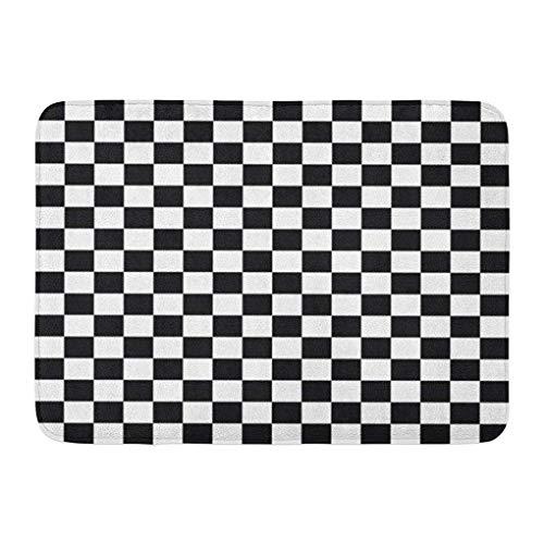 YGUII Doormats Bath Rugs Outdoor/Indoor Door Mat Checker Black and White Checkered Pattern Chessboard Check Parallel Bathroom Decor Rug Bath Mat 16X23.6in (40x60cm)