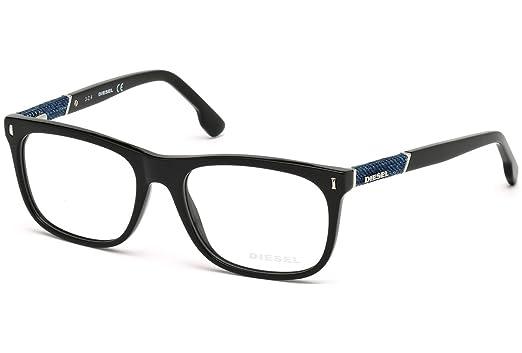 2c541f8ca03b Amazon.com  DIESEL Eyeglasses DL5157 001 Shiny Black  Clothing
