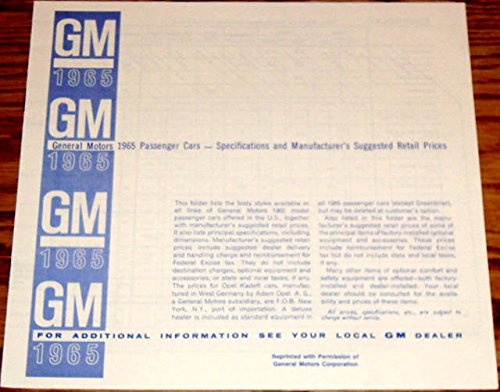 1965 GM PONTIAC PASSENGER CARS SPECIFICATIONS And SUGGESTED RETAIL PRICE'S - Tempest, Tempest Custom Le Mans, Catalina, Star Chief, Bonneville, Grand Prix ()