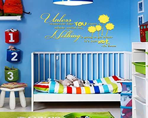 UNLESS Dr Seuss Inspired Quote Vinyl Wall Decal [YELLOW] by GMDdecals Lorax Truffula Trees Design 28