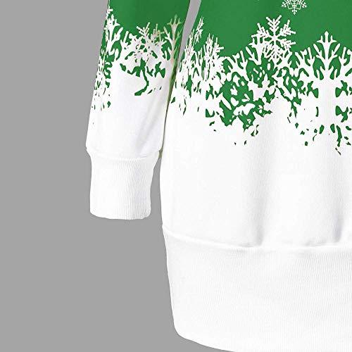 Fiocco Abito Abito Abito Neve di Casuale Natale Natale Natale Lunga Abito Felpa Natale Babbo Natalizia Stampa Stampata Size Tunica Donne Natalizio Plus Manica Verde Natale Maglia rrfFOq4