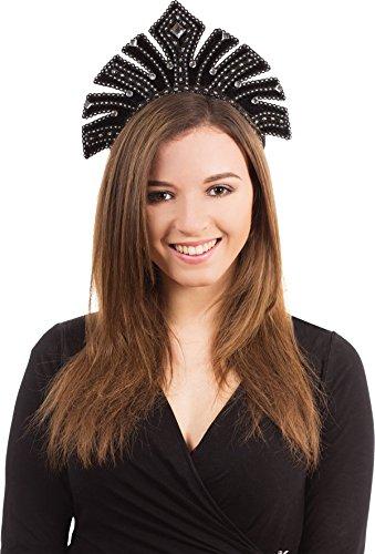 [Adult Mardi Grass Fancy Dress Party Black Brazilian Carnival Headdress With Gems] (Brazilian Carnival Male Costume)