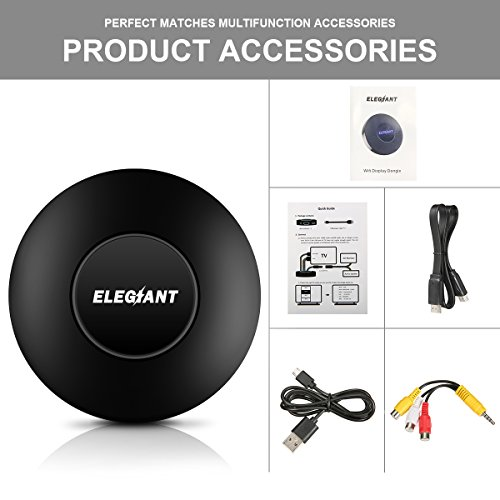 WIFI Display Dongle, ELEGIANT Wireless Screen Mirroring Adapter 1080P Video Receiver Mini Display Receiver HD AV Dual Output Support Airplay DLNA Miracast for iOS/Android/TV/Projector by ELEGIANT (Image #7)