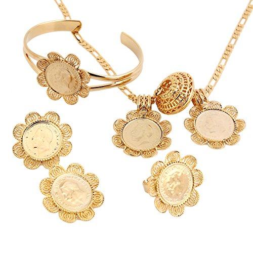 18k Gold Plated Fill Gold Coin Set Ethiopian Eritrea Libya Congo Nigeria Kenya Arabic Jewelry
