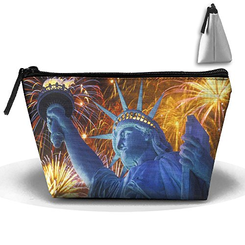 Makeup Bag Trapezoidal Storage Bag Statue Liberty Firework P