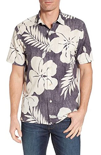 Tommy Bahama Hialeah Hibiscus Silk/Cotton Blend Camp Shirt (Color Steel Wool, Size - Shirt Camp Hibiscus