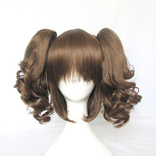 New Fashion Heat Friendly Brown Clip on 2 Ponytails Wavy Hair Wig/Lolita Cosplay Wig + Free Wig Cap