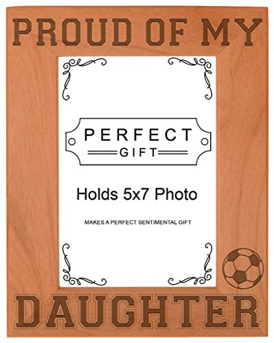 (ThisWear Soccer Dad Mom Gift Proud My Daughter Natural Wood Engraved 5x7 Portrait Picture Frame Wood)