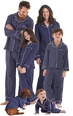 PajamaGram Dots and Stripes Matching Family Pajamas, Dog X-Small, Navy Blue
