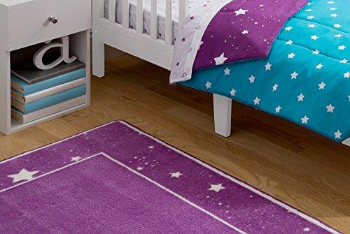 Kids Area Rug, Girls Starry Night | Children's Room Carpet | Delta Children | Purple with Stars by Delta Children