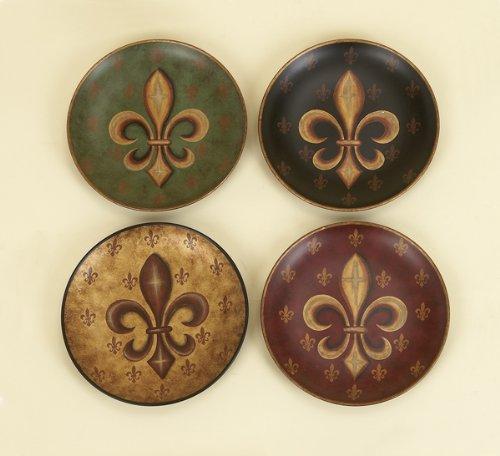 Tuscan Old World Fleur De Lis 8'' Display Plates Set of 4
