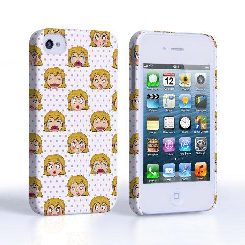 Caseflex iPhone 4 / 4S Hülle Rosa Mädchen Karikatur Gesichter Hart Schutzhülle