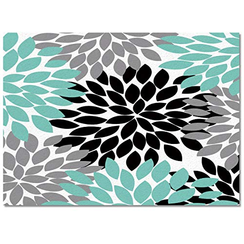 wanxinfu Modern Area Rugs Children Crawling Mat 2'x3', Abstract Black Grey and Green Dahlia Large Accent Rugs Picnic Mat Floor Carpet Runners for Indoor Outdoor]()
