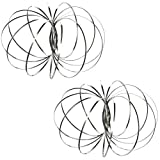 ORION Kinetic Rings: Flow Toy, Fidget Slinky, Stainless Steel Springs, 3D Sculpture – 2-for-1 Special Pricing with Bonus Drawstring Carrying Bag - 2-PACK