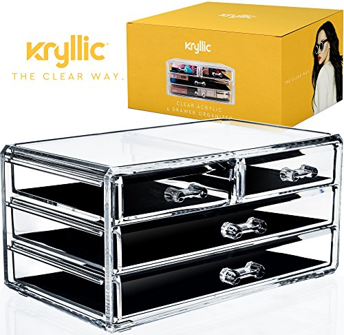Acrylic Cosmetic Makeup Organizer Drawer - 4 drawers storage plastic box case jewelry lipstick brushes sets nail polish make up products accessories holder vanity countertop mirror decor display bathr