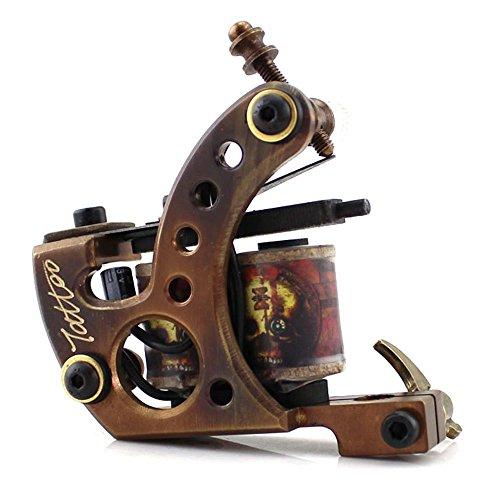 HoriKing Tattoo Supply Pro Handmade Carving 12Warp Coil Brass Tattoo Machine Gun Shader Supply Black