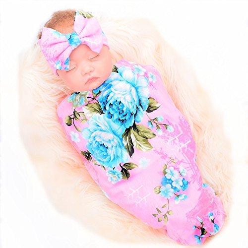 (Galabloomer Newborn Receiving Blanket Headband Set Flower Print Baby Swaddle Receiving Blankets Dark Pink )