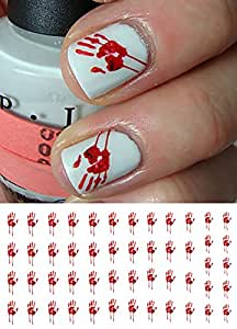 Amazon.com: Bloody Halloween Hand Prints Water Slide Nail