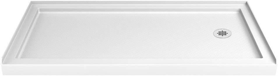 DreamLine SlimLine 34 in. D x 60 in. W x 2 3/4 in. H Right Drain Single Threshold Shower Base in White, DLT-1134602