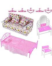Felenny 8 st prinsessmöbler tillbehör byråset + soffset+sängset + hängare för sovrum Barbie docka