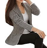 My Wonderful World Blazer Coat Jacket Mww Women's Vintage Check Plaid Long Sleeve Casual Slim Fit Jacket Houndstooth Blazer US 2