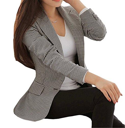 - SHUIANGRAN Women's Vintage Check Plaid Long Sleeve Casual Slim Fit Jacket Blazer US 6