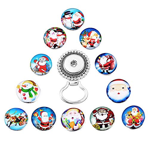 (MJartoria Interchangeable Tree of Life Snap Buttons Centerpiece Eye Glass Holding Magnetic Brooch (Santa Claus))