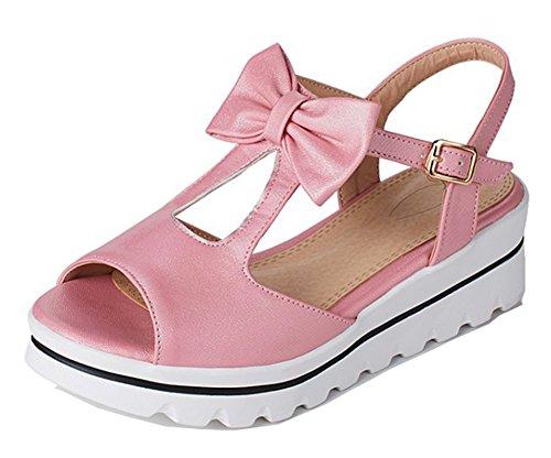 Aisun Donna Comfort Suola Spessa Allacciata Peep Toe Piattaforma Dressy Sandali Con Zeppa Tacco Medio Con Fiocco Rosa