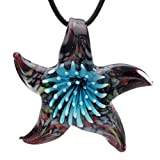 Bleek2sheek Murano Glass Fireworks Blooming Star Pendant Necklace - HYPOALLERGENIC