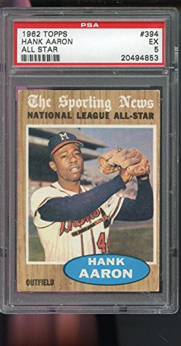1962 Topps #394 Hank Aaron Sporting News All-Star PSA 5 Graded Baseball Card