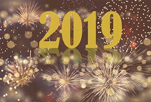 AOFOTO 10x7ft 2019 Happy New Year Backdrop Christmas Fireworks Bokeh Halo Background Business Carnival Banner Holiday Eve Celebration Evening Reception Festival Party Decoration Props Vinyl Wallpaper