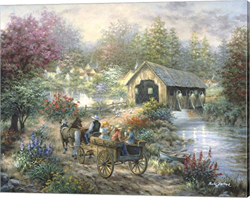 Covered Bridge Picture (Merriment At Covered Bridge by Nicky Boehme Canvas Art Wall Picture, Gallery Wrap, 20 x 16 inches)