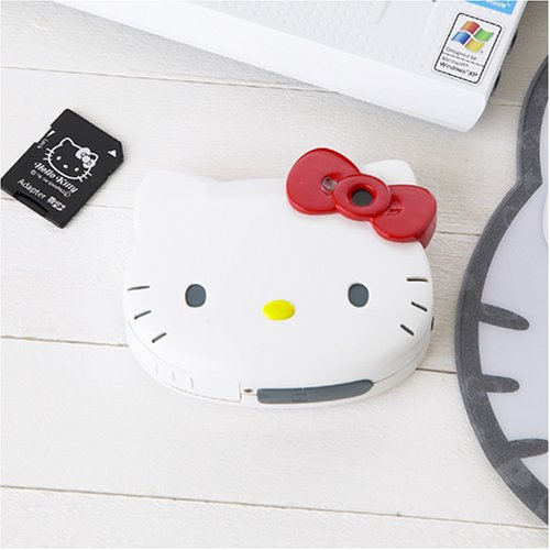 キティちゃんの顔の形のデジタルカメラは、シャッターを押すとほんのりほっぺが赤くなるの。