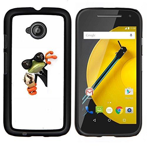E2 Cream (Pulsar Snap-on Series Plastic Back Case Shell Skin Cover for Motorola Moto E2 / E 2nd gen , Cream Frog Shades Sunglasses Green)
