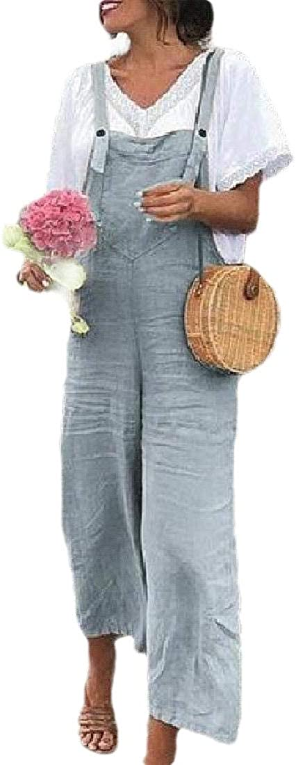 WSPLYSPJY Women Casual Jumpsuits Overalls Wide Leg Rompers Baggy Bib Pants